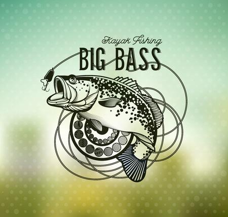 Basso emblema di pesca sulla sfocatura sfondo. Illustrazione vettoriale.