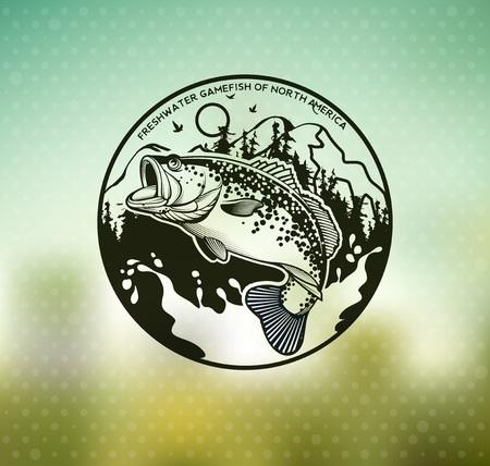 Bass Fishing Emblem auf Unschärfe Hintergrund. Vektor-Illustration. Standard-Bild - 85344137