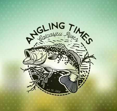 Bass Fishing emblem on blur background. Vector illustration.
