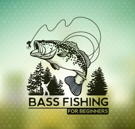 Bass Fishing emblem on blur background. Vector illustration.