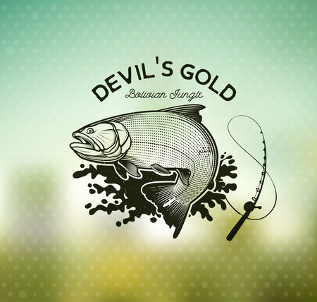 Gouden Dorado Fishing emblem op onscherpe achtergrond. Vectorillustratie.