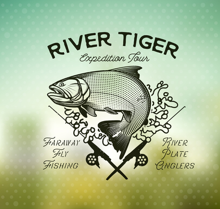 dorado: Golden Dorado Fishing emblem on blur background. Vector Illustration. Illustration