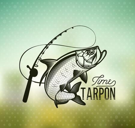 Emblema de Tarpon Fishing en el fondo borroso Foto de archivo - 85344148