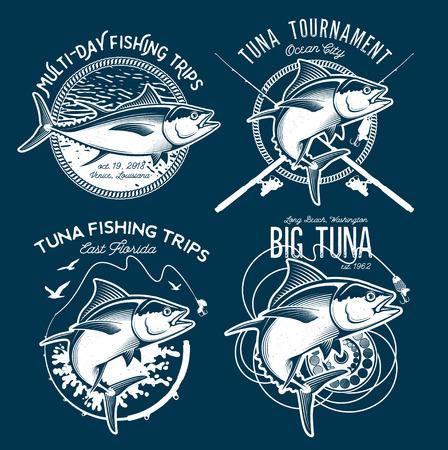 Logotipos Del Vector Del Atún. Logos del club de la pesca deportiva.