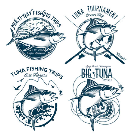 Tuna Vector Logos. Sport Fishing Club Logos. 免版税图像 - 85344159