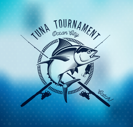 Fishing labels, badges, emblems and design elements. Illustrations of Tuna