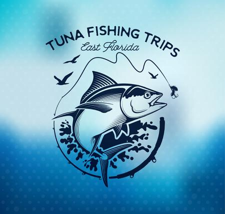 Etiquetas de pesca, insignias, emblemas y elementos de diseño. Ejemplos de Tuna Foto de archivo - 85341918