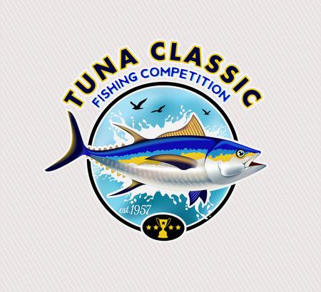 Tuna Fishing Logos. Vector Illustration. 向量圖像