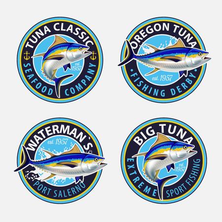 Fishing labels, badges, emblems and design elements. Illustrations of Tuna. Illustration