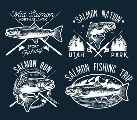 Vintage emblemas de pesca de salmón, etiquetas y elementos de diseño. Ilustración del vector. Foto de archivo - 85452440