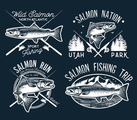 Vintage Salmon Fishing emblems, labels and design elements. Vector illustration. Banco de Imagens - 85452440