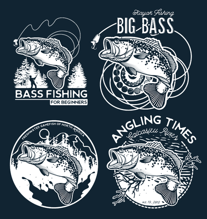 Bass Fishing emblem on black background. Vector illustration.