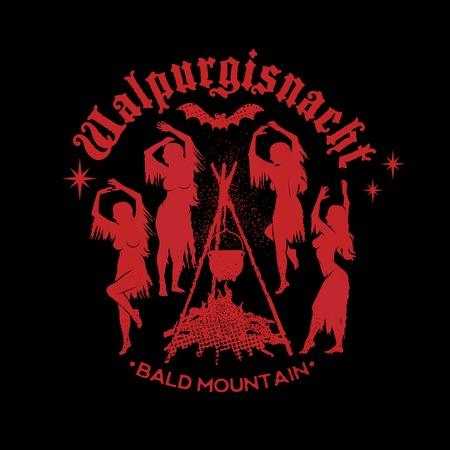 Les sorcières dansent près d'un feu de camp dans la prairie. Les sorcières avec une robe déguisée et des cheveux en vrac. Illustration vectorielle. Banque d'images - 86204110