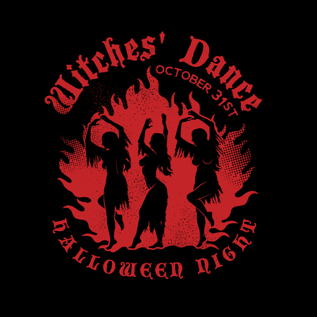 Witches Dancing near a Campfire in the meadow. Witches with Ragged Dress and Loose Hair. Vector Illustration. Illustration