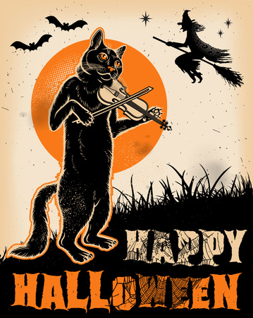 빈티지 할로윈 고양이 바이올린 포스터 연주입니다. 일러스트