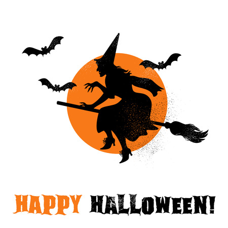 Halloween-Heksensilhouet Vector illustratie.