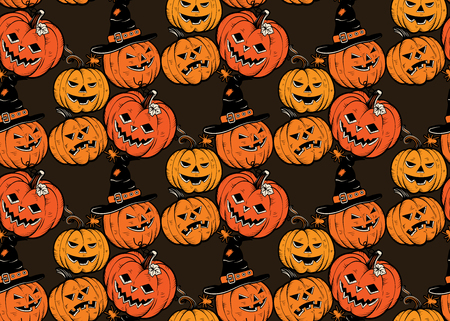 Pattern senza saldatura con zucche di Halloween. Vettore. Archivio Fotografico - 86999749