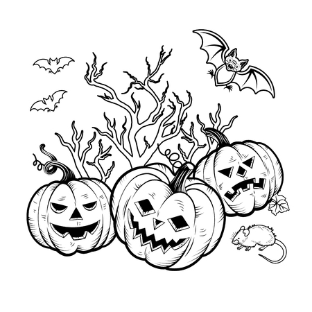 Set of Halloween Characters pumpkins, witches silhouette, bats, cauldron, spiders and web, cat with violin, evil-boding trees, zombie hand, headstones, crow owl mouses Illustration