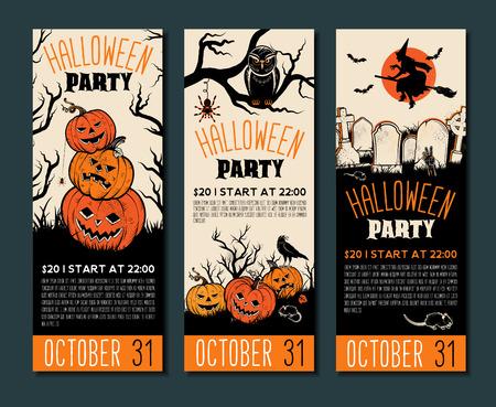 Halloween tickets sjabloon. Plaats voor uw tekst. Vectorillustratie met Halloween Vintage symbolen. Groot ontwerp voor Halloween-partij, menu of uitnodiging. Vectorillustraties.
