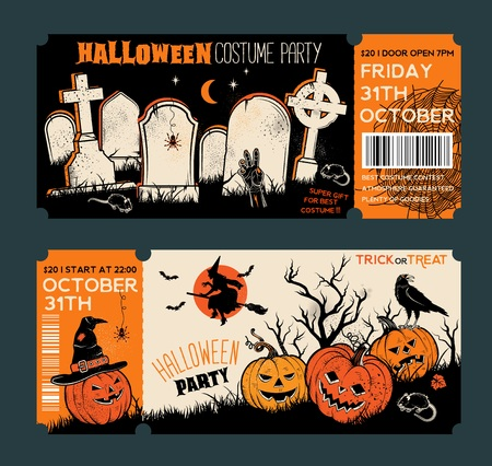 Halloween Tickets Template. Place for your text. Vector illustration with Halloween Vintage symbols. Great design for halloween party, menu or invitation.Vector Illustrations.