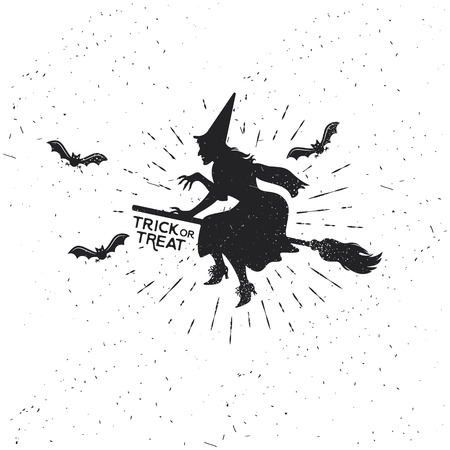 Witch Vintage Halloween Template with Bats. Vector Illustration