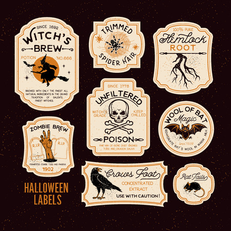Set of Halloween Bottle Labels.