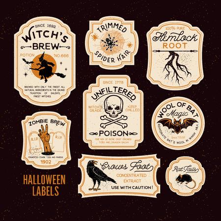 Conjunto de etiquetas de botella de Halloween.