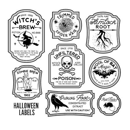 Conjunto de etiquetas de botella de Halloween. Foto de archivo - 87706481