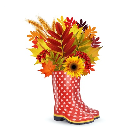 Illustration of fashion red dotted rubber boots, bouquet of autumn leaves. 向量圖像