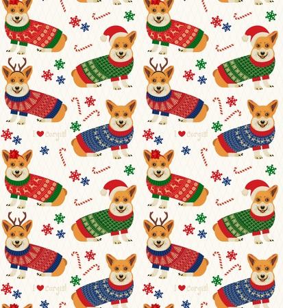 コーギーとシームレスなクリスマスのパターン。  イラスト・ベクター素材