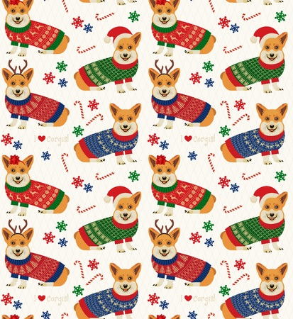 Seamless Christmas Pattern with Corgis. Vettoriali