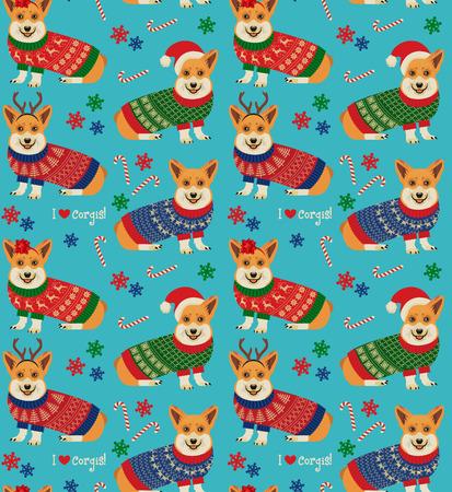 Nahtloses Weihnachtsmuster mit Corgis. Standard-Bild - 89194097