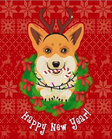 Corgi New Year card vector illustration