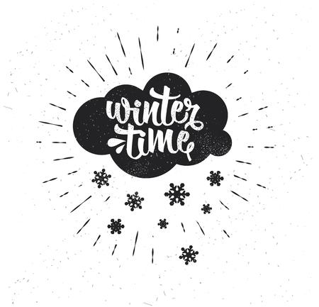 Hand drawn typography poster. Winter Time. Çizim