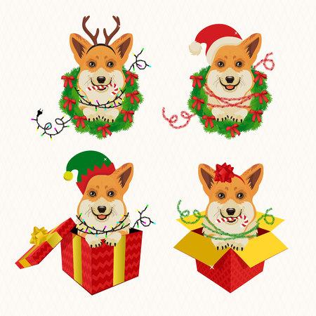 Adorable Corgi Christmas Set with bow. Vector Illustration.