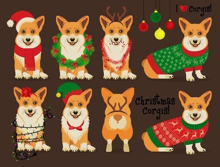 Christmas Corgis. Vector Illustration. Stock Photo