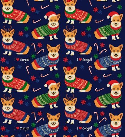 Corgis와 원활한 크리스마스 패턴입니다.