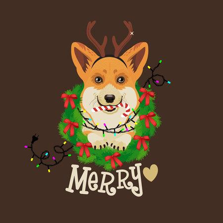 Weihnachtskarte. Vektor-Illustration. Standard-Bild - 89194114