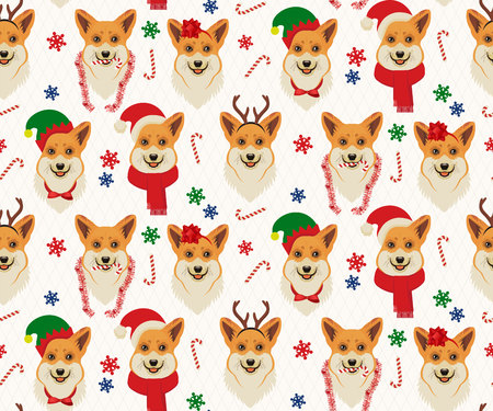 Seamless Christmas Pattern with Corgis. Illustration