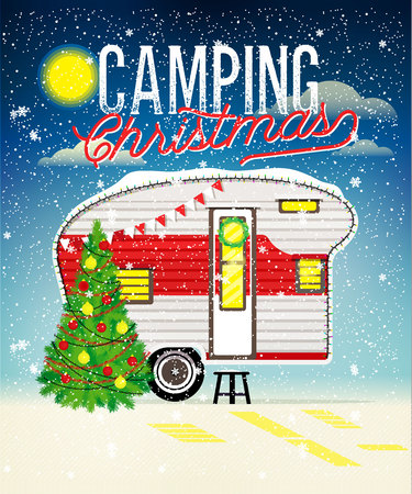 Christmas Card with Winter Camp. Vector illustration.