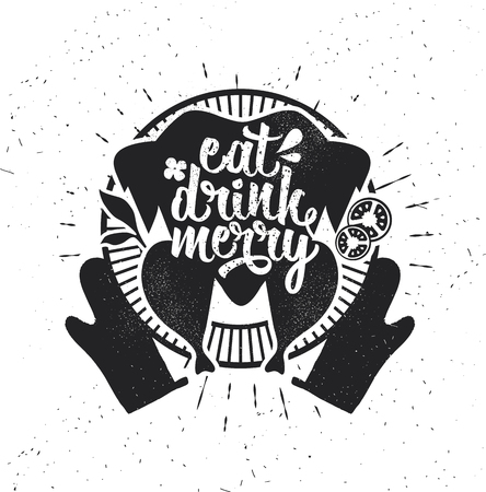 Eat, drink and be Merry Christmas card design Çizim