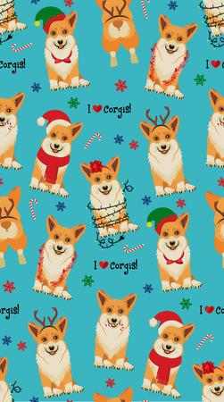 Seamless Christmas Pattern with Corgis. Çizim