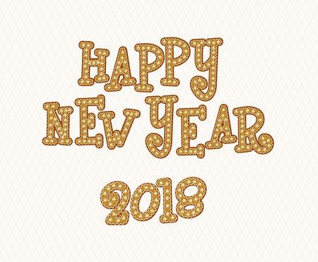 Happy New Year 2018 Gingerbread Font Vector illustration. Çizim