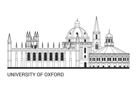 Oxford University in black and white Vector Illustration.