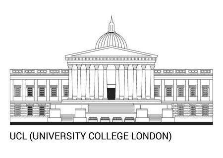 UCL. University College London in an outline skycraper Vector Illustration. Illustration