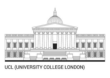 UCL。ユニバーシティ カレッジ ロンドン概要超高層ビル ベクトル図で。 写真素材 - 90750465