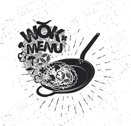 Padella wok. Fast food asiatico. Manifesto di tipografia disegnato a mano. Tipografia di vettore. Archivio Fotografico - 90267278
