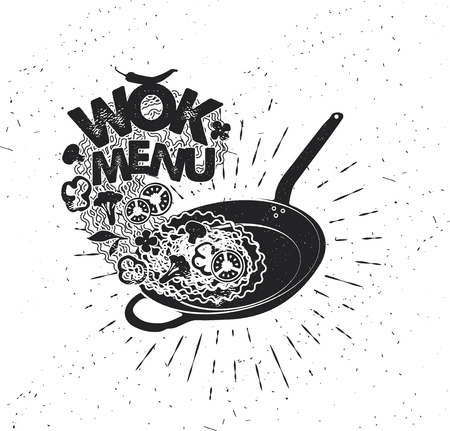Wok pan. Asian fast food. Hand drawn typography poster.Vector Typography.