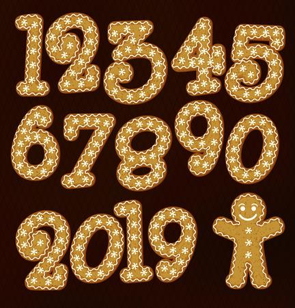 Christmas Gingerbread numbers. Gingerman. Illustration. Stok Fotoğraf