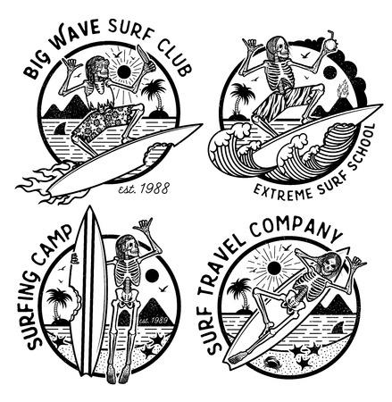 Vektor-Logo-Illustration mit Skeleton Surfern. Satz von Vintage Surfing Embleme für Web-Design oder Print. Surfer-Logo-Vorlagen. Surf-Abzeichen. Surfbrett-Elemente.